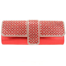 Load image into Gallery viewer, Crystal Embellished Red Clutch - CeCe Fashion Boutique