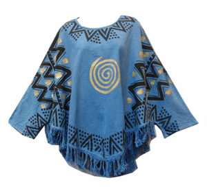 Mud Cloth Organic Cotton Top with Fringes (Blue) - CeCe Fashion Boutique
