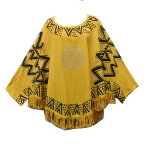 Mud Cloth Organic Cotton Top with Fringes (Mustard) - CeCe Fashion Boutique