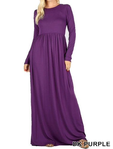 Long Sleeve Round Neck Maxi Dress - Dark Purple - CeCe Fashion Boutique