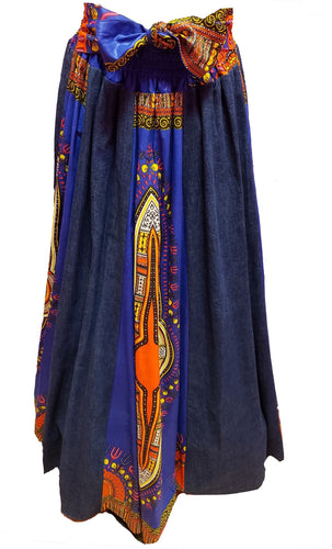 Dina Maxi Ankara Wax Cotton Denim Skirt - CeCe Fashion Boutique