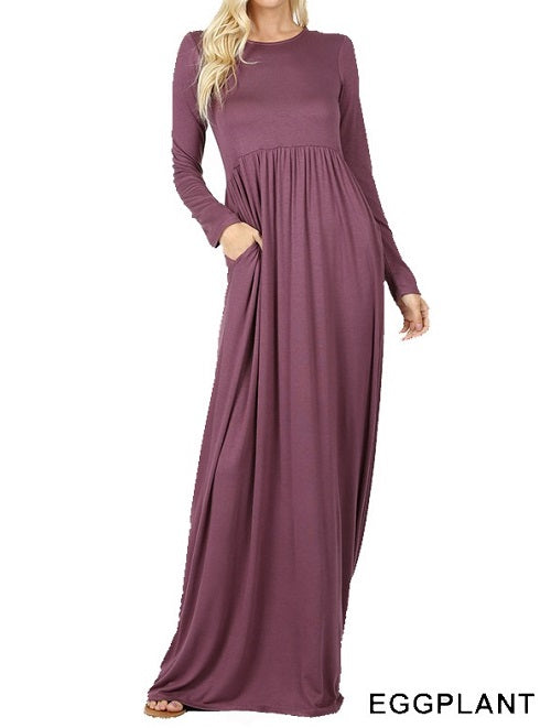 Long Sleeve Round Neck Maxi Dress - Eggplant - CeCe Fashion Boutique
