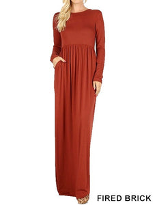 Long Sleeve Round Neck Maxi Dress - Fried Brick - CeCe Fashion Boutique
