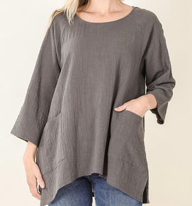 Gauze High Low Hem Top with Pockets (Ash Grey) - CeCe Fashion Boutique
