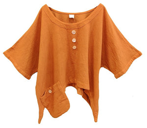 Gauze Cotton Solid Top with Side Pocket (Rust) - CeCe Fashion Boutique