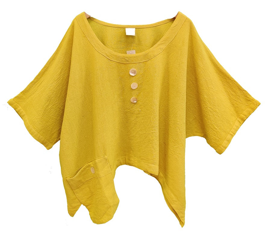 Gauze Cotton Solid Top with Side Pocket (Yellow) - CeCe Fashion Boutique