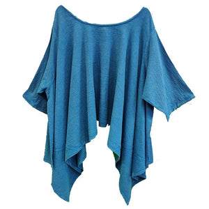 Gauze Cotton Solid Top (Blue) - CeCe Fashion Boutique
