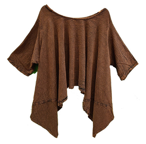 Gauze Cotton Solid Top (Brown) - CeCe Fashion Boutique