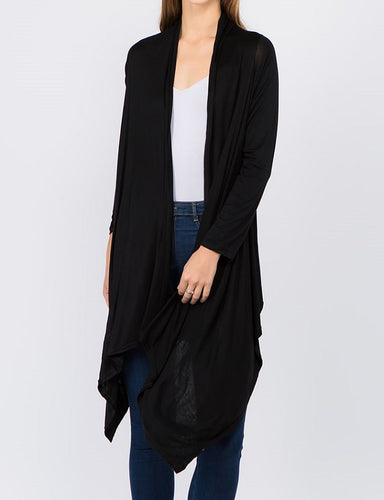 Solid Open Front Drape Cardigan - Black - CeCe Fashion Boutique