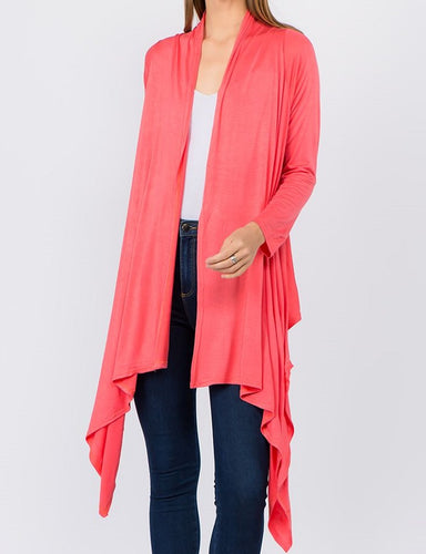 Solid Open Front Drape Cardigan - Coral - CeCe Fashion Boutique