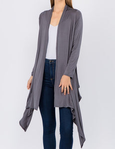 Solid Open Front Drape Cardigan - Grey - CeCe Fashion Boutique