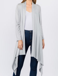 Solid Open Front Drape Cardigan - Silver - CeCe Fashion Boutique