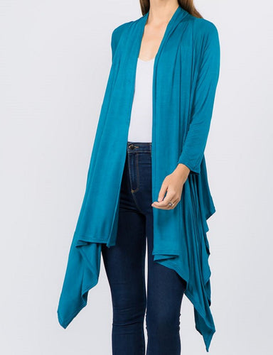 Solid Open Front Drape Cardigan - Teal - CeCe Fashion Boutique