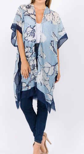 Floral Overlay (Blue) - CeCe Fashion Boutique