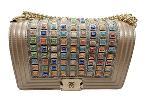 Gold CrossBody With Multicolor Stones - CeCe Fashion Boutique