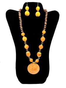 Orange Beaded Necklace and Earrings Set - CeCe Fashion Boutique