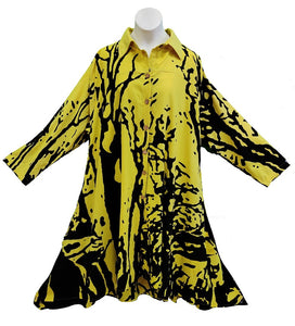 Tunic / Dress - Tree Print (Yellow) - CeCe Fashion Boutique