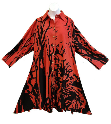 Tunic / Dress - Tree Print (Red) - CeCe Fashion Boutique