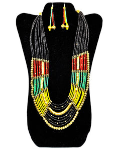 Multi-Strand Tri-Color Necklace and Earrings Set - CeCe Fashion Boutique