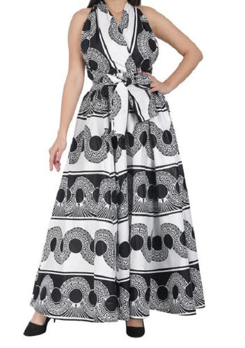 Infinity Dress with Headwrap - Black and White - CeCe Fashion Boutique