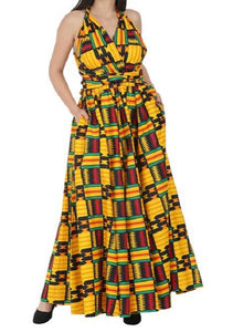 Infinity Dress with Headwrap - Kente Print - CeCe Fashion Boutique
