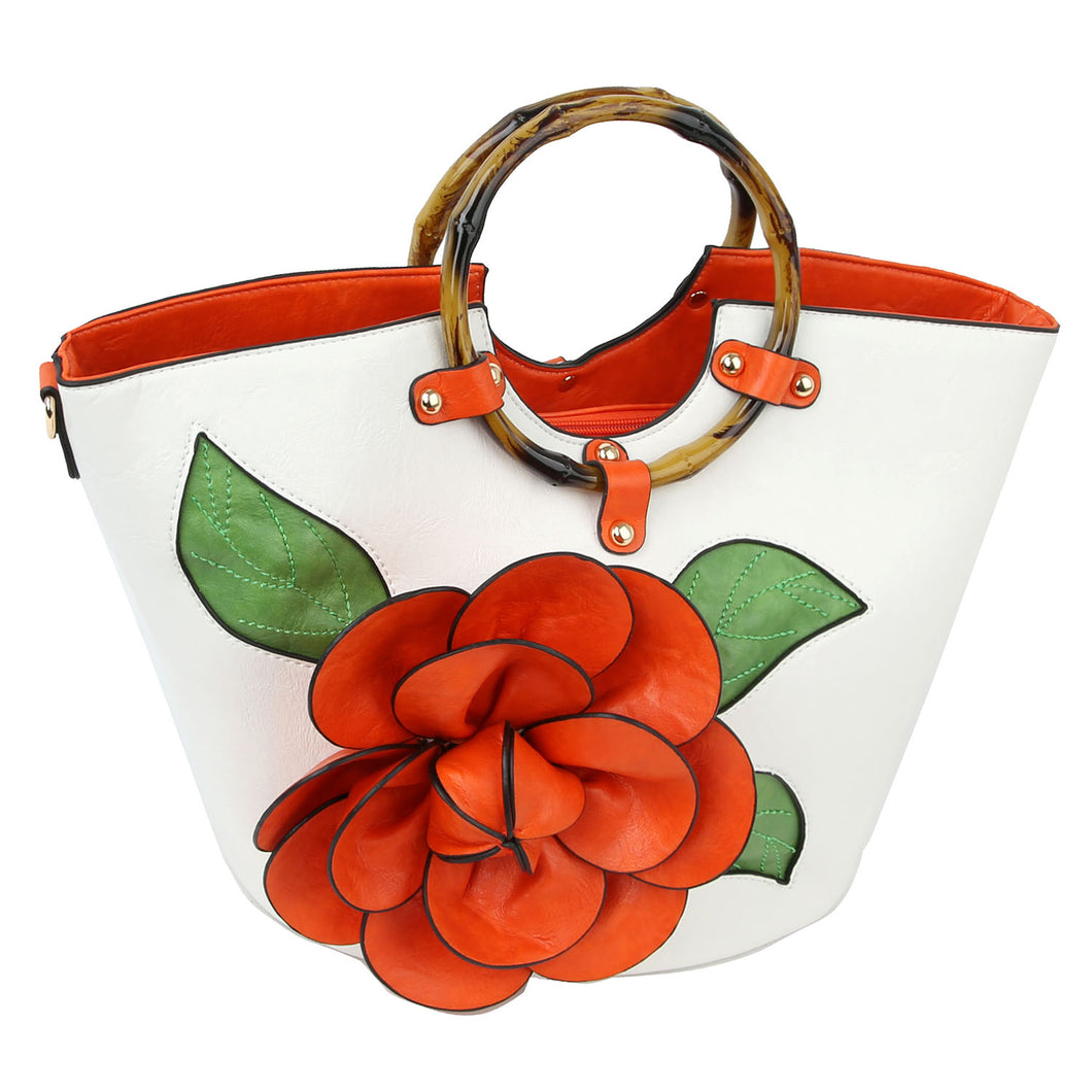 3D Flower Bamboo Round Handle Satchel (3 Colors) - CeCe Fashion Boutique