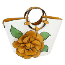 Load image into Gallery viewer, 3D Flower Bamboo Round Handle Satchel (3 Colors) - CeCe Fashion Boutique