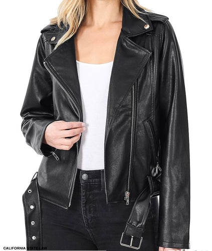 Leather Belted Moto Jacket - CeCe Fashion Boutique