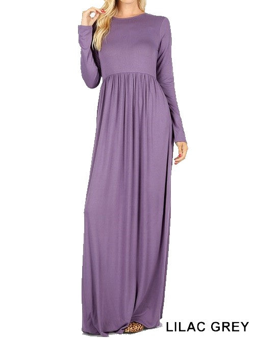 Long Sleeve Round Neck Maxi Dress - Lilac Grey - CeCe Fashion Boutique