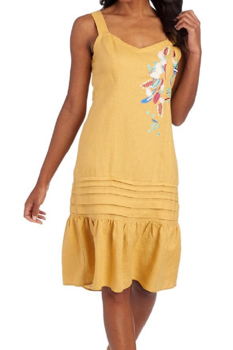 Beaded Flower Yellow Linen Blend Dress - CeCe Fashion Boutique
