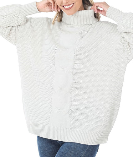 Turtleneck Cable Knit Balloon Sleeve Sweater (White) - CeCe Fashion Boutique