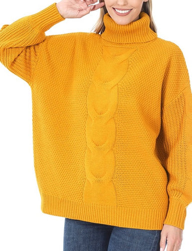 Turtleneck Cable Knit Balloon Sleeve Sweater (Mustard) - CeCe Fashion Boutique