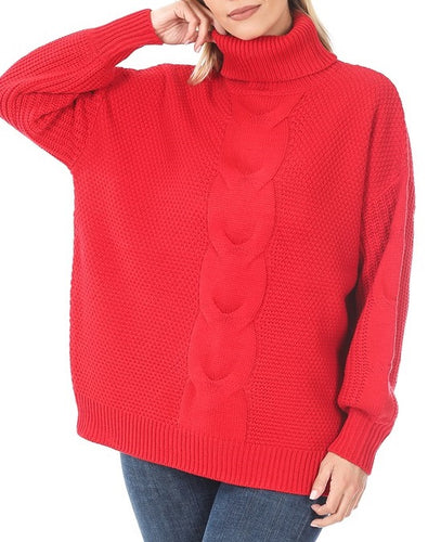 Turtleneck Cable Knit Balloon Sleeve Sweater (Red) - CeCe Fashion Boutique