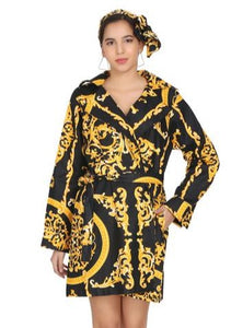 Cotton Blazer (Black and Gold) - CeCe Fashion Boutique