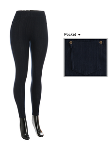 Navy Denim Leggings with Pockets - CeCe Fashion Boutique