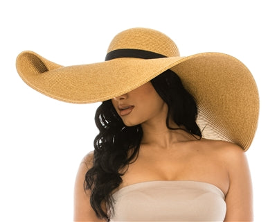 Oversized Beach Hat W/ Pin Up Brim - CeCe Fashion Boutique