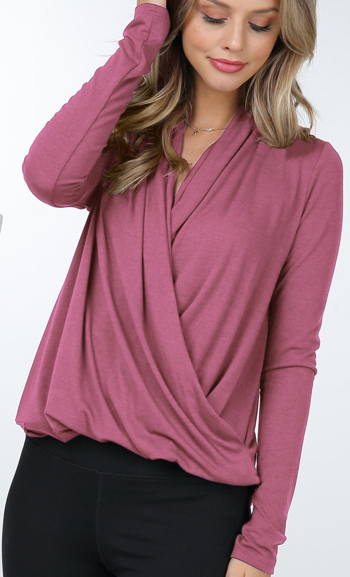 Long Sleeve Crossover Top (Mauve) - CeCe Fashion Boutique