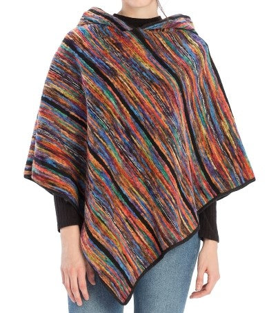 Color Palette Hood Poncho (Blue) - CeCe Fashion Boutique