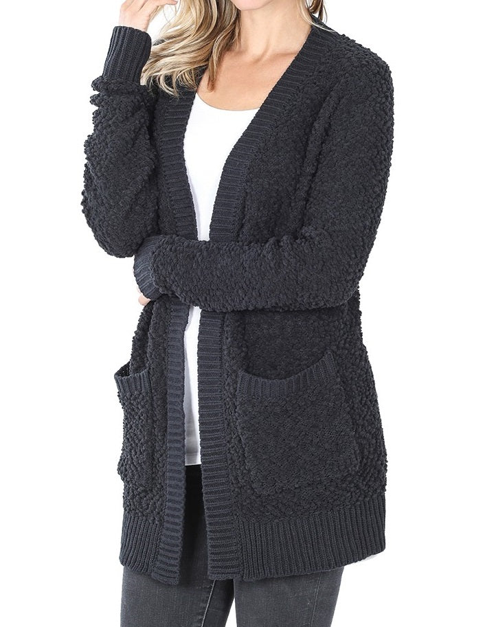 Black Popcorn Cardigan with Pockets (PLUS SIZE) - CeCe Fashion Boutique