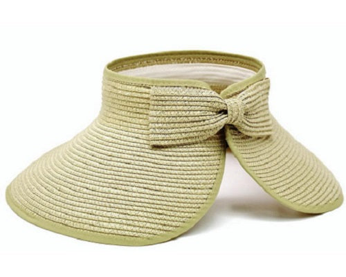 Rollup Travel Visor with Bow - Beige - CeCe Fashion Boutique