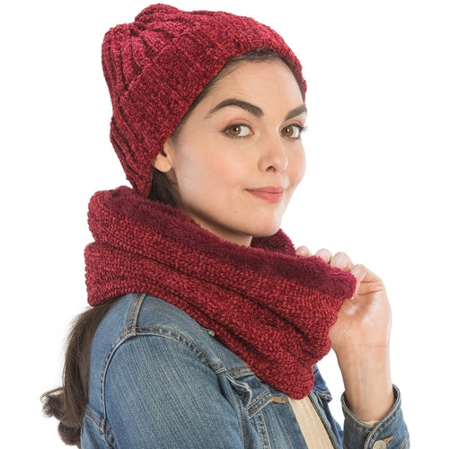 Chenille Lined Infinity Scarf & Hat Set - CeCe Fashion Boutique