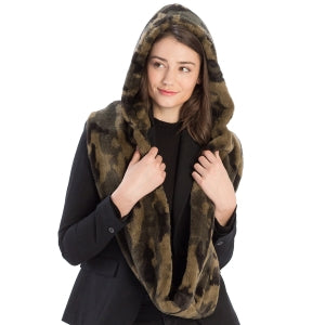 Faux Fur Hooded Infinity Scarf - Camo Print - CeCe Fashion Boutique
