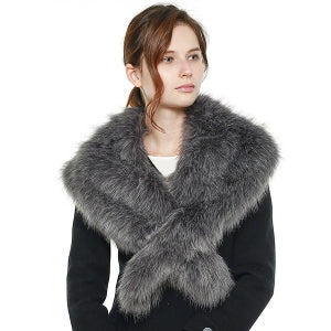 Faux Fur Shawl Scarf with Slit (4 Colors) - CeCe Fashion Boutique
