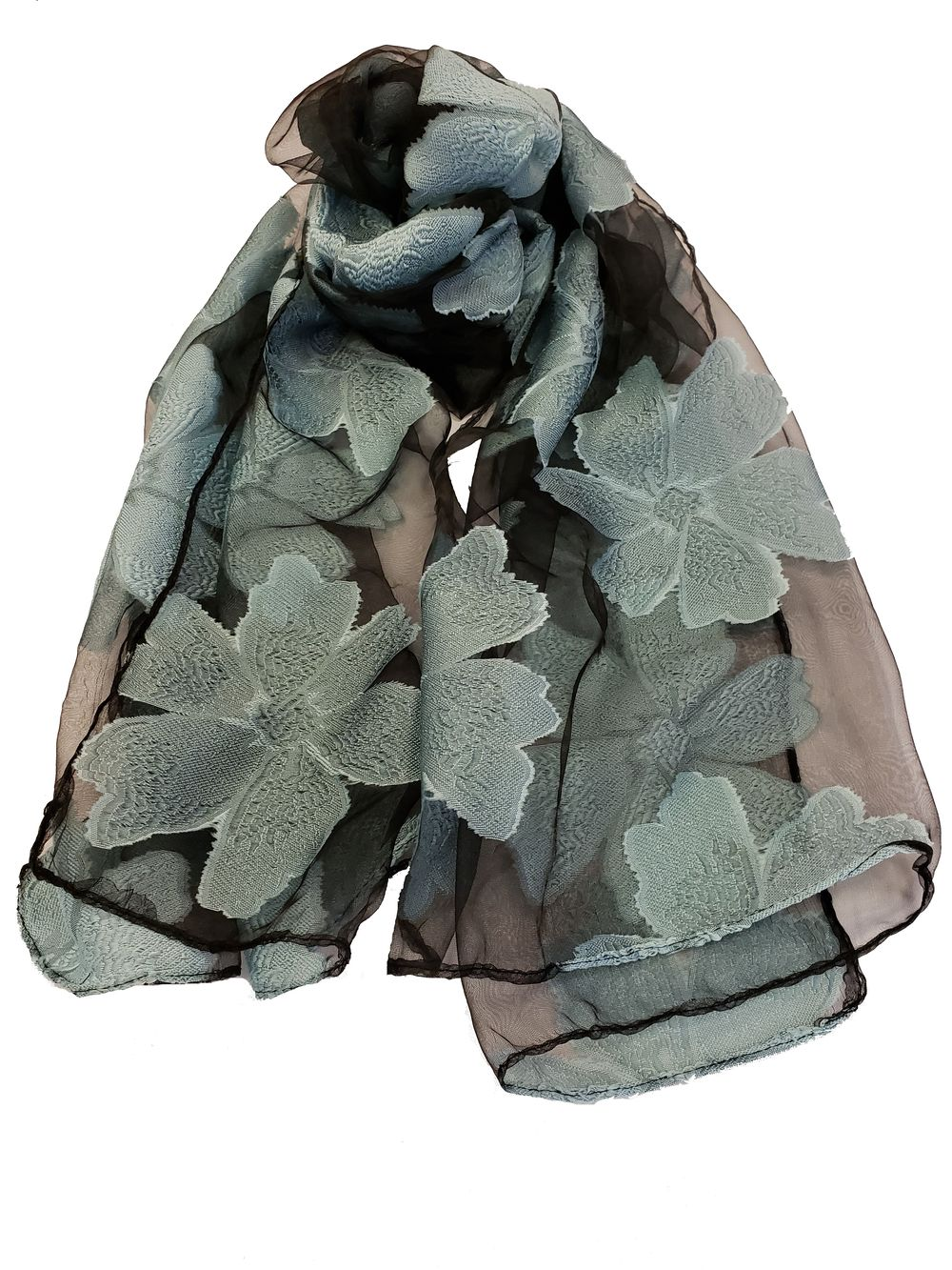 Sheer Flower Pattern Embroidery Scarf - Black - CeCe Fashion Boutique