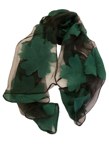 Sheer Flower Pattern Embroidery Scarf - Green - CeCe Fashion Boutique