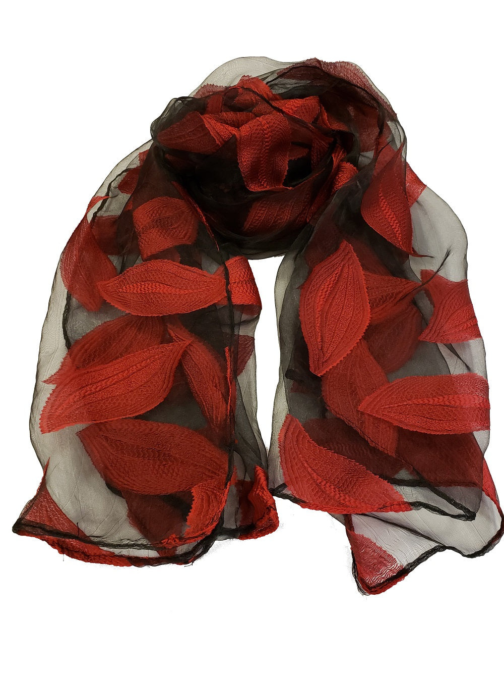 Sheer Leaf Pattern Embroidery Scarf - Red - CeCe Fashion Boutique