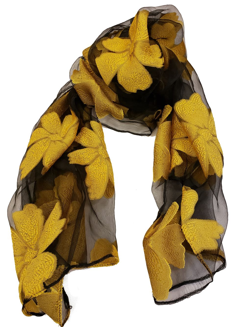 Sheer Flower Pattern Embroidery Scarf - Yellow - CeCe Fashion Boutique
