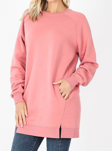 Oversized Loose Fit Sweatshirt (Dusty Rose) - CeCe Fashion Boutique