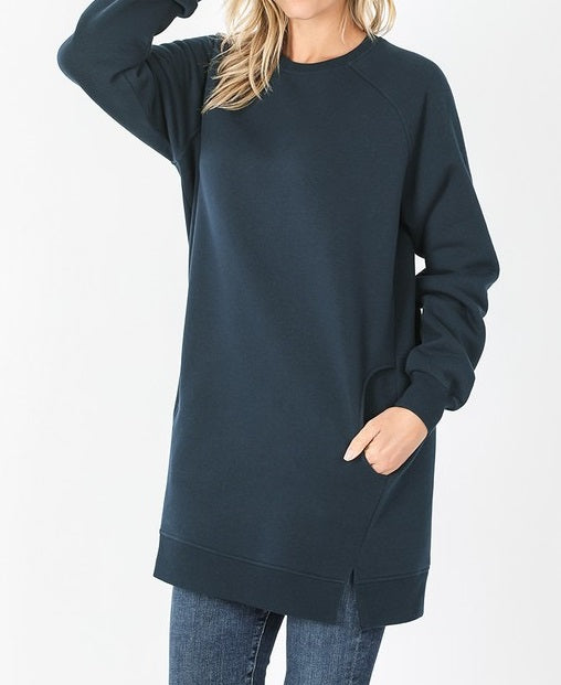 Oversized Loose Fit Sweatshirt (Navy) - CeCe Fashion Boutique