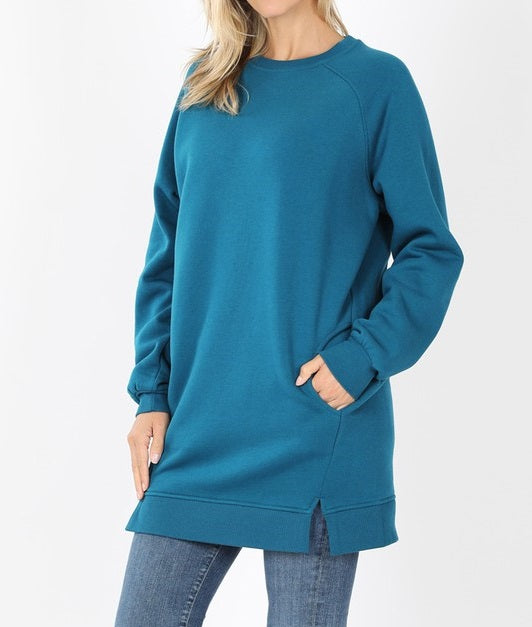 Oversized Loose Fit Sweatshirt (Teal) - CeCe Fashion Boutique